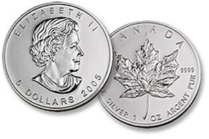 Canadian Maple Leafs Silver Bullion Coin