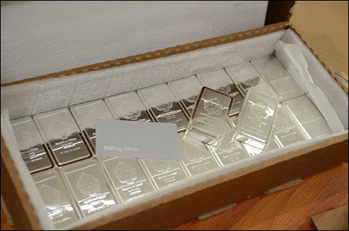 The Scottsdale 10oz Stacker silver bars