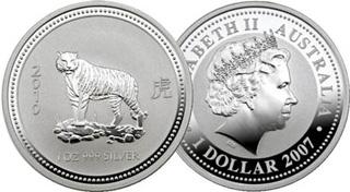Perth Mint Silver Tiger 2010