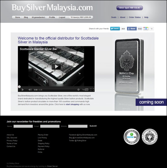 BuySilverMalaysia.com - Offical Scottsdale Silver Distributor in Malaysia coming soon!