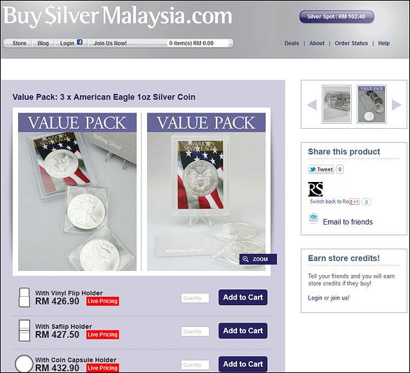 Buy Silver Malaysia Amercian Eagle Silver Coin